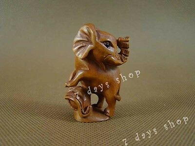Chinese Old Boxwood Carving Elephant Statue Wood Sculpture Wooden Craft W303
