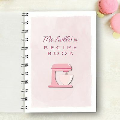 Personalised Recipe notebook Pink Mixer Recipe Journal, Foodie Cooks Lovely Gift