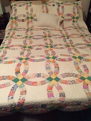 "Vintage Wedding Ring Hand Sewn Quilt      83"" L X 71"" W"