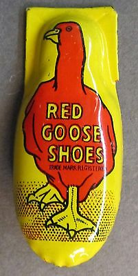 1950's RED GOOSE SHOES advertising tin clicker premium MADE IN JAPAN