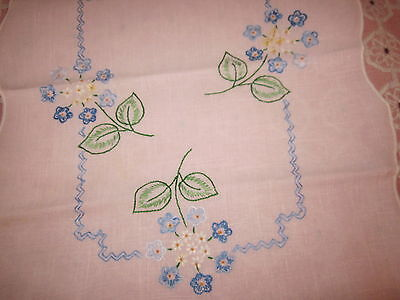 2 pc matching blue floral embroidered pink linen table runner 15x38