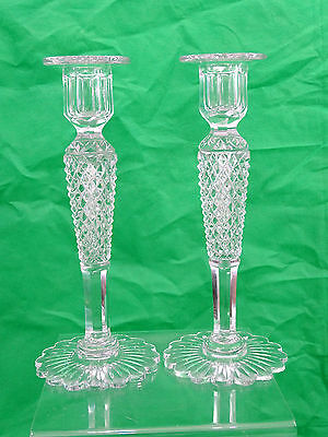 SUPERB ANTIQUE HAND CUT CRYSTAL PAIR of CANDLESTICKS MAGNIFICENT QUALITY GLASS