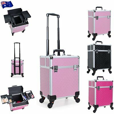 Professional Makeup Train Case Cosmetics Beauty Box Carry Trolley Organizer Bags