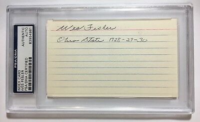 Wes Fesler Signed Ohio State Buckeyes 3X ALL AMERICAN Index Card PSA/DNA