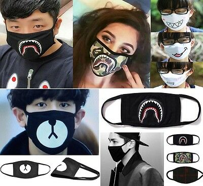Warmer Black Smile Shark Anti-dust Cotton Mouth Face Mask Outdoor Respirator Hot