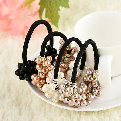 Fashion Crystal Pearl Hair Band Rope Elastic Ponytail Holder Woman Accessories