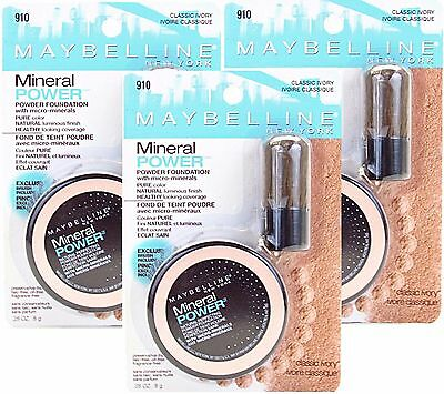3 Maybelline Mineral Power Powder Foundation #910 Classic Ivory -New