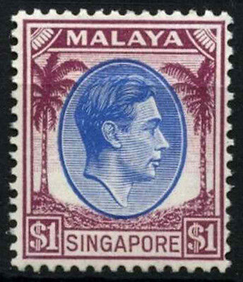 Singapore 1948-52 SG#13 $1 Blue & Purple KGVI P14 MH #D46918