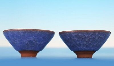 Pair of Chinese Collections Blue Glaze Porcelain Tea Cups Bowls