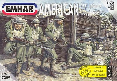 Emhar Model Kit - WW1 Doughboys American Infantry - 1:72 Scale - 7209 - New