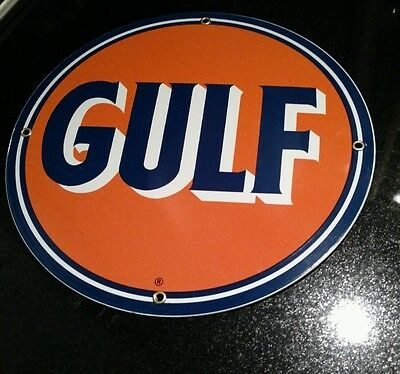 GULF Gasoline Oil Porcelain Advertising Sign....~12""