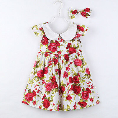 Toddler Kid Girl Princess Tutu Dress Floral Casual Party Ball Dress+Headband Set