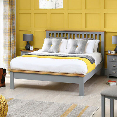 Manor Grey Painted 5ft King Size Bed With Oak Top - Furniture - BRAND NEW - MG05