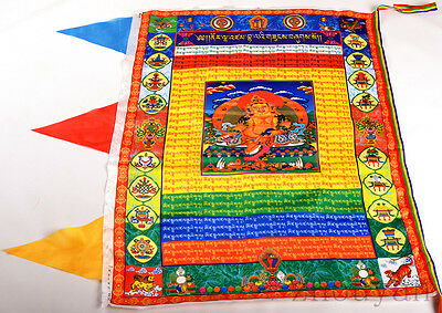 90Cm Tibetan Silk Buddhism Wind Horse Prayer Flag: Yellow Jambhala Home Fortune
