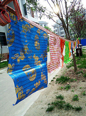 700cm! BLESSED 20 PCS TIBETAN GOLDEN WIND HORSE PRAYER FLAG STRING: FIVE COLOR!