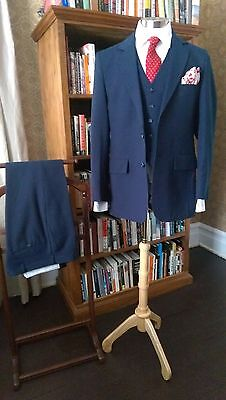 Hess tailor made 3pc 70's/80's blue pinstripe disco suit   40R