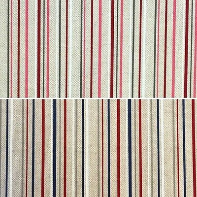 Cotton Rich Linen Look Fabric Coloured Stripes Lines  Upholstery 140cm Wide