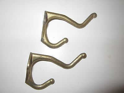 2 Antique Brass Coat Hooks Hangers Salvage