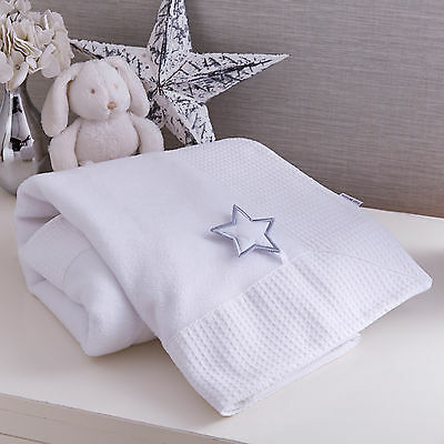 New Clair De Lune Luxury Super Soft Pram / Moses / Crib Blanket In Silver Lining