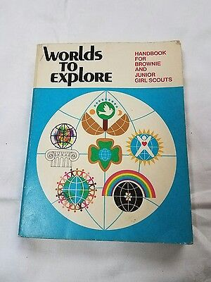 Worlds to Explore - Vintage  Handbook for Brownie and Junior Girl Scouts 1977