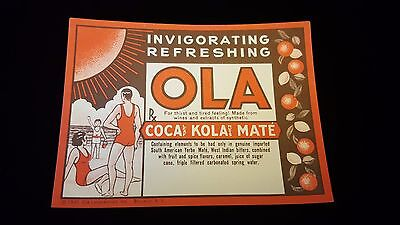 Rare 1930s Ola Coca Kola (Coca Cola competitor) Bottle Label COCAINE Coca Leaf