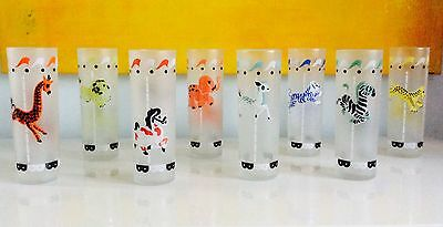 Vintage Libbey Frosted Carousel Merry Go Round Set Of 8 Ice Tea / Cocktail Glass