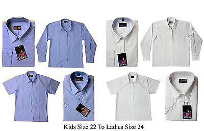 UK School Girls Blouse Shirt White,Pale Blue Long Short Sleeve Ages 2 to Adults