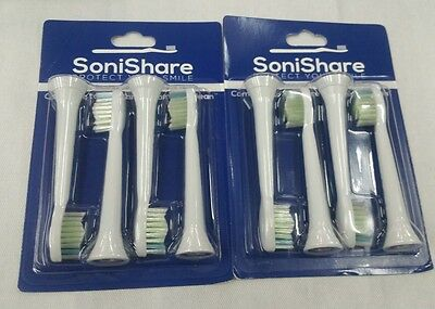 SoniShare Premium Replacement Toothbrush Heads for Philips Diamondclean - 8 Pack