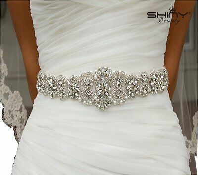 Wedding Sash Ivory & Bridal Sash Belt for Wedding Dress Rhinestone Applique New