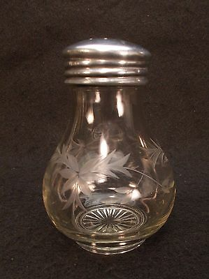 Vintage Glass Jar Etched Poinsettia Design Metal Lid w/ Holes Sugar Shaker