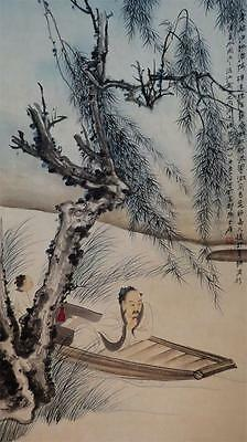 "k185 Chinese hand painting scroll  "" landscape & Portrait "" by zhang DaQian 张大千"
