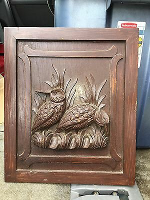 "1940's 13"" Carved Wood Bird Pediment Panel"