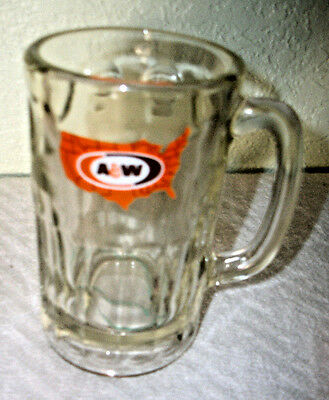 VINTAGE !! A&W Glass Root Beer Mug United States Map Logo 16 oz COLLECTABLE !!!!