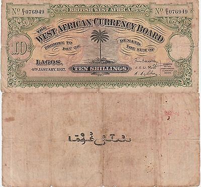 British West Africa 10 Shillings Banknote 4.1.1937 Very Good Condition Cat#7-B