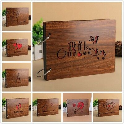 New Novel Wood Words DIY Memories Book Scrapbook Photo Album Vintage Family Gift