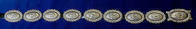 CHOCTAW D B STERLING Silver STAMPED DOMED 9 PIECES Ladys ESTATE CONCHO BELT