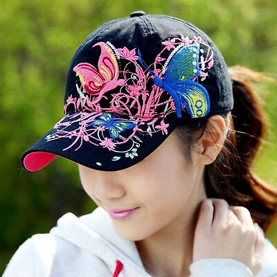 Women Ladies Baseball Cap Canvas Butterfly Embroidered Adjustable Hat Summer