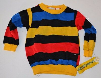 Vtg 70's Vanderbilt Kids COLORFUL Striped Youth Sweater Acrylan Acrylic SZ 4 NOS