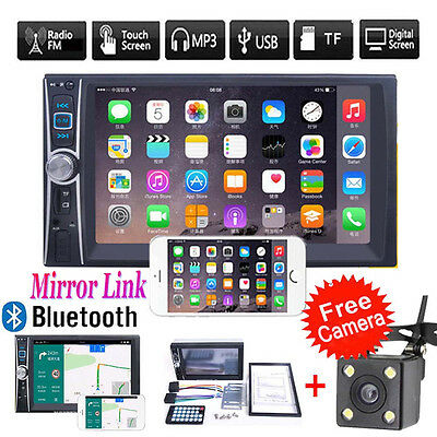 2DIN Bluetooth Touch Car Stereo Audio MP3 Player FM Radio GPS MirrorLink+Camera