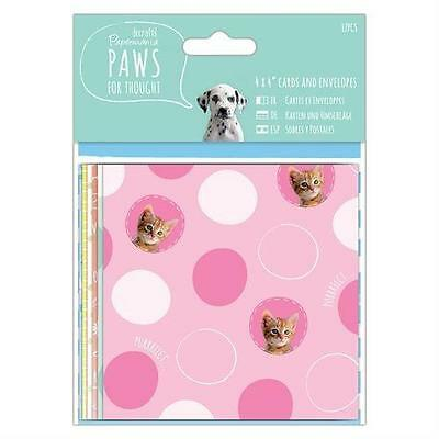 "12 4"" X 4"" Papermania Paws For Thought Card Blanks & Envelopes Card Making"