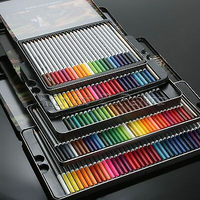 24/36/48/72 Colors Water Soluble Sketching Drawing Pencils Metal Box + 1PC Brush