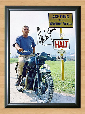 Steve McQueen Signed Autographed A4 Photo Print Poster Great Escape Bullit dvd 4