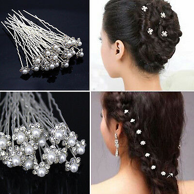 20pcs Wedding Bridal Pearl Flower Crystal Hair Pins for Bridesmaid/Bride