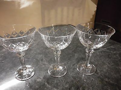 Large Elaborate 3 Crystal Wide Rimmed Wine Goblet Style Diamond Cut Pattern