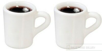 Two Filled Coffee Mugs, Dolls House Miniatures, Kitchen Dining Accessories