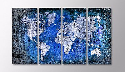 Large Modern Abstract World Map Grunge Brushed Metal Distressed Wall Decor Art