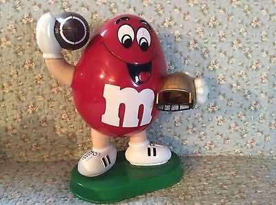M & M Red Peanut Candy Dispenser 1995 Football Player Collectible Works Mars