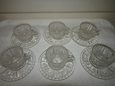 12 Pc. - Westmoreland Sandwich Glass Princess Feather - 6 cups, 6 saucers
