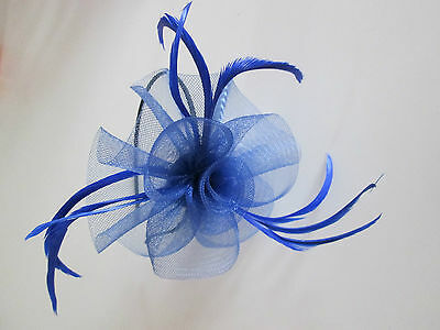 NEW Navy blue loop net feather aliceband fascinator wedding ascot races prom