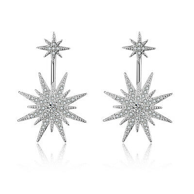 Fashion Solid 925 Sterling Silver Cluster Natural Zircon Star Ear Stud Earrings
